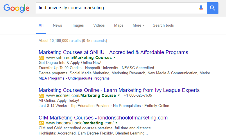 """Paid search - """"find university course marketing"""""""