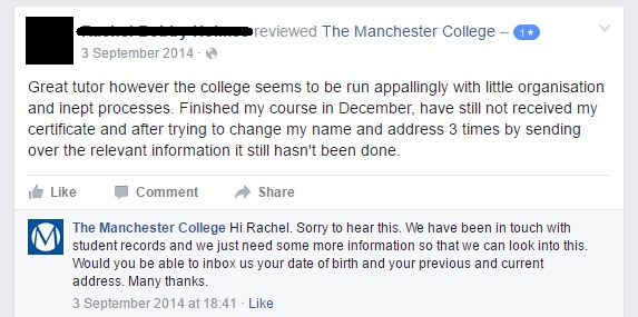 Social media reviews - The Manchester College